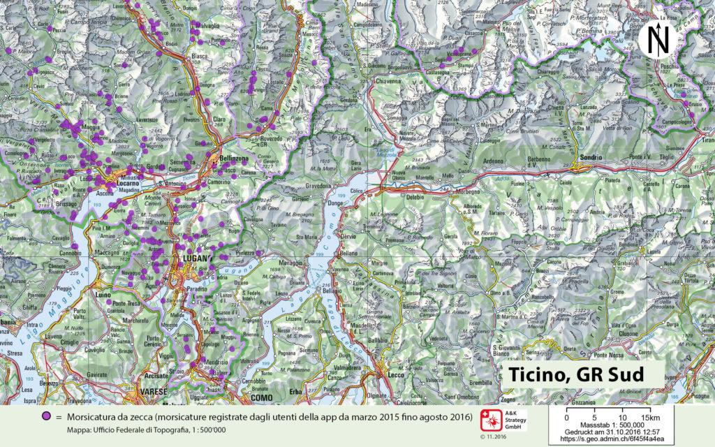 Cartina Geografica Canton Ticino Svizzera.Mappa Delle Zecche Svizzera Zecke Tique Tick Ch
